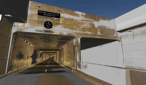 Hanger Lane Gyratory Underpass Model with Laser Scan Overlay