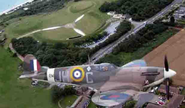 Spitfire Flying Above Battle of Britain Site